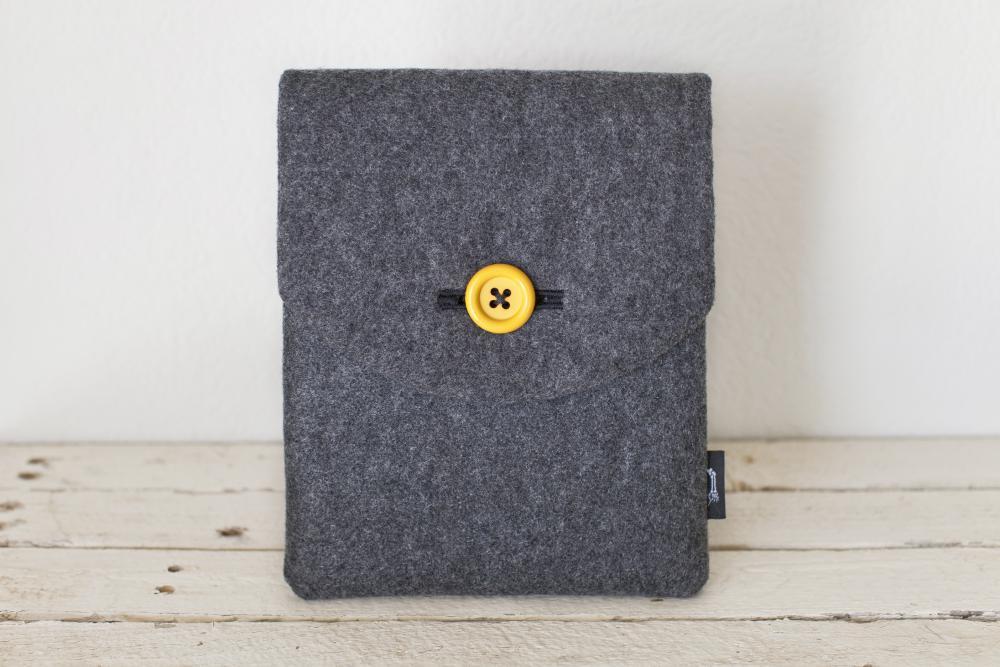 iPad Case - Grey Eco Wool Yellow - Padded with Pocket