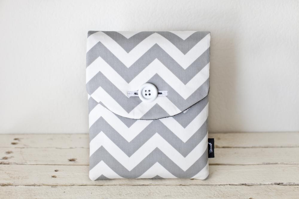 iPad Case - Chevron Grey White - Padded with Pocket
