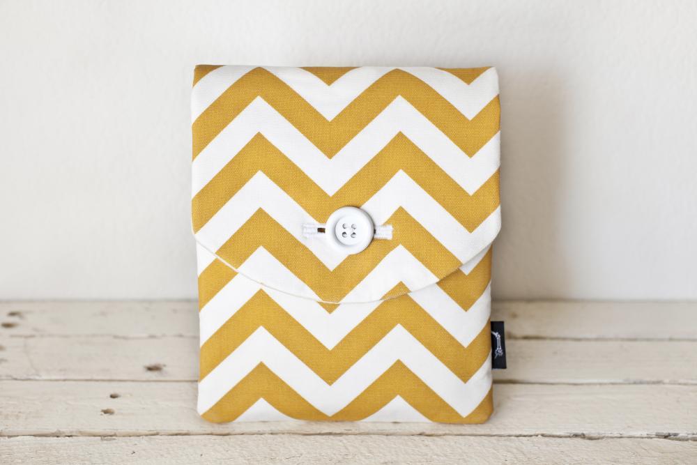 iPad Case - Chevron Yellow Gold White - Padded with Pocket