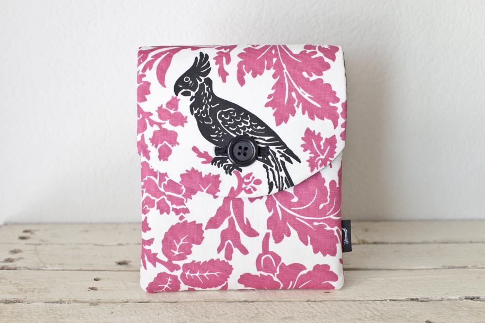 iPad Case - Pink Black Bird Parakeet Flowers - Padded with Pocket