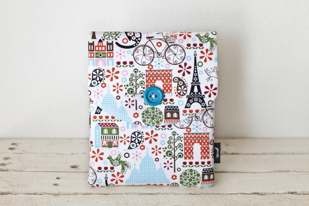 iPad Mini Case - Paris Birds Bicycles Trees - Padded with Pocket