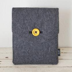 iPad Case - Grey Eco Wool Yellow - Padded with Pocket