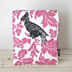 iPad Case - Pink Black Bird Parakeet Flowers - Padded with Pocket