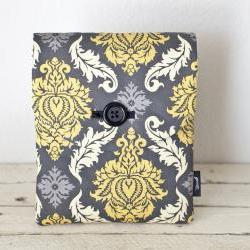 iPad Case - Grey Yellow Damask - Padded with Pocket