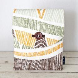 iPad Case - Tiki Tropical Orange Green Brown - Padded with Pocket
